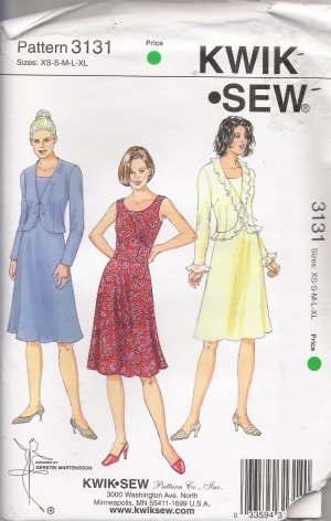 Misses' Dress & Jacket Sewing Pattern Size XS-XL Kwik Sew 3131 UNCUT