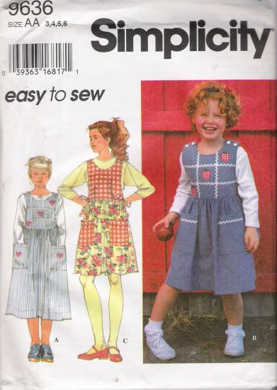 Child's Jumper Sewing Pattern Size 3-6 Simplicity 9636 UNCUT