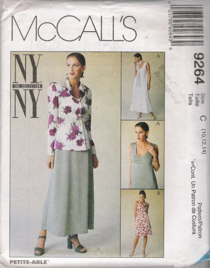 Misses' Unlined Jacket & Dress In Two Lengths Sewing Pattern Size 10-14 McCall's 9264 UNCUT