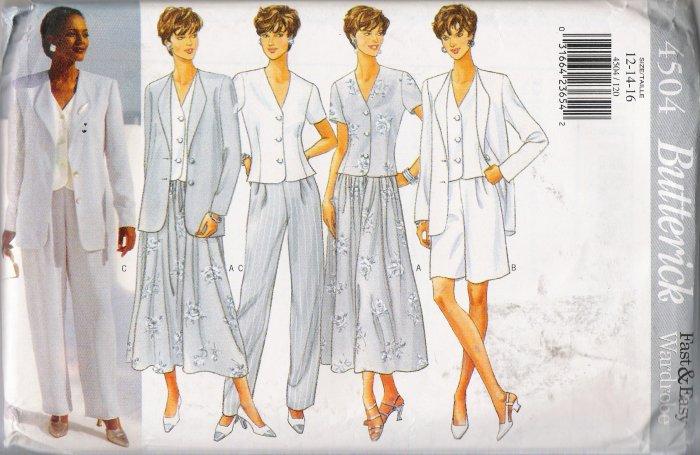 Misses' Jacket, Top, Skirt, Shorts & Pants Sewing Pattern Size 12-16 Butterick 4504 UNCUT