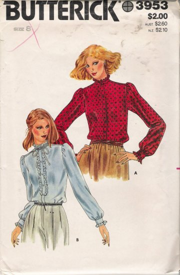 Vintage Sewing Pattern Misses' Blouse Size 8 Butterick 3953 UNCUT