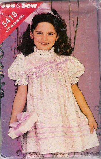 Children's Dress Sewing Pattern Size 5-6X Butterick 5418 UNCUT