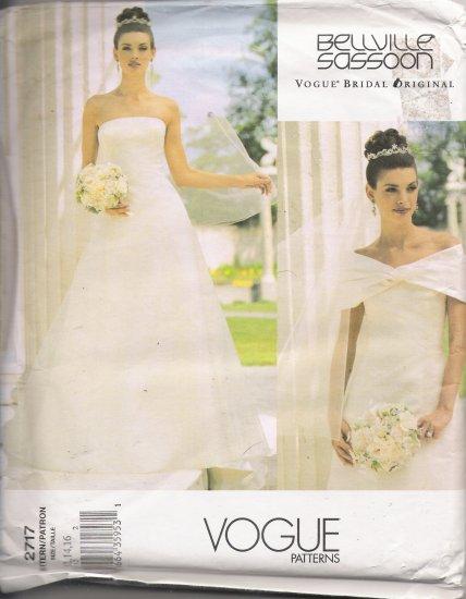 Misses' Wedding Dress Sewing Pattern Size 12-16 Vogue 2717 UNCUT