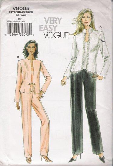 Misses' Jacket Camisole Pants Sewing Pattern Size 8-14 Vogue 8005 UNCUT