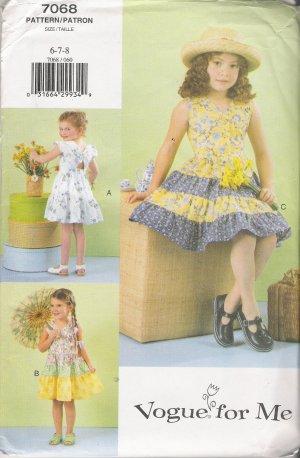 Girls' Dress Sewing Pattern Size 6-8 Vogue 7068 UNCUT