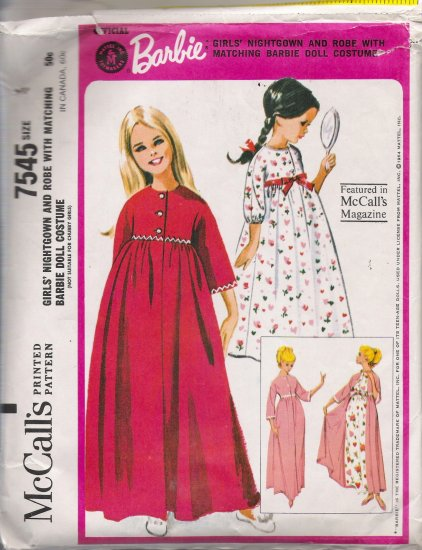 Vintage Sewing Pattern Girl's Barbie Nightgown and Robe Size 4 McCall's 7545 CUT