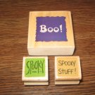 Halloween Wood Mounted Rubber Stamps Lot Of 3