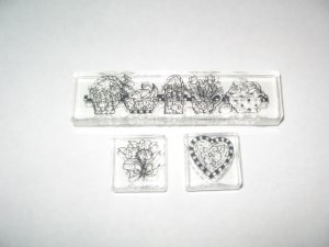 Acrylic Mounted Rubber Stamps Lot Of 3