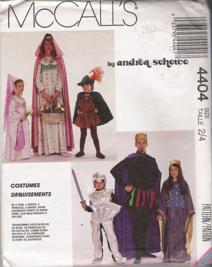 Children's Medieval Costume Sewing Pattern Size 2-4 McCall's 4404 UNCUT