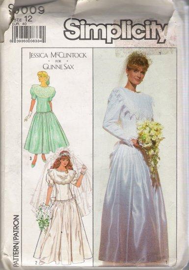 Misses' Wedding & Bridesmaids' Dress Sewing Pattern Size 12 Simplicity 9009 UNCUT