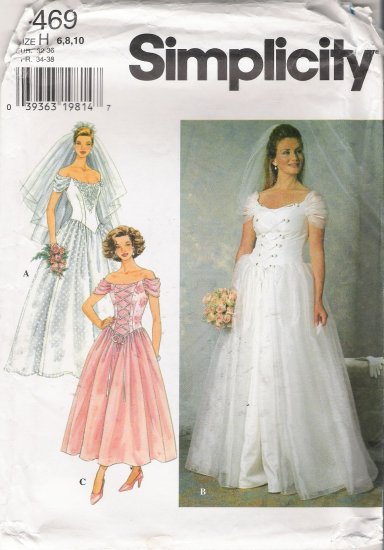 Misses' Wedding Bridal Dress Sewing Pattern Size 6-10 Simplicity 7469 UNCUT