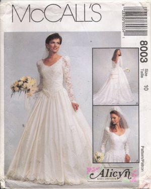 Misses' Bridal Gown Sewing Pattern Size 10 McCall's 8003 UNCUT