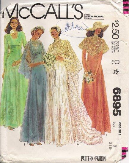 Vintage Sewing Pattern Misses' Bride & Bridesmaid Dress & Cape 1979 Size 8 McCall's 6895 UNCUT