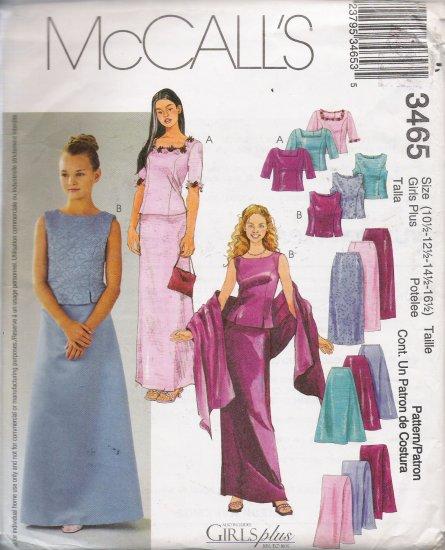 Girls' & Girls' Plus Tops Skirts Stole Sewing Pattern Size 10 1/2-16 1/2 McCall's 3465 UNCUT