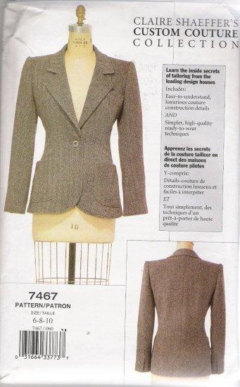 Misses' Jacket Sewing Pattern Size 6-10 Vogue 7467 UNCUT