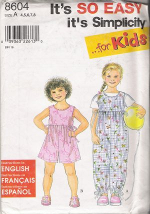 Child's Romper Sewing Pattern Size 4-8 Simplicity 8604 UNCUT