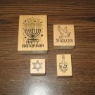 PSX Hanukkah Wood Mounted Rubber Stamps Lot Of 4 Retired Collectible