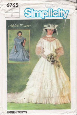 Vintage Sewing Pattern Misses' Brides' Or Bridesmaids' Wedding Dress Size 12 Simplicity 6765 UNCUT