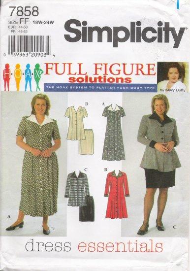 Women's Dress Top Skirt Sewing Pattern Size 18-24 Simplicity 7858 UNCUT