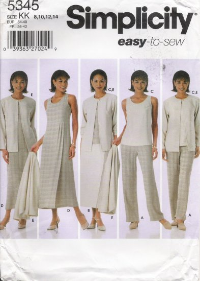Misses' Pants Skirt Top Dress Jumper Jacket Sewing Pattern Size 8-14 Simplicity 5345 UNCUT