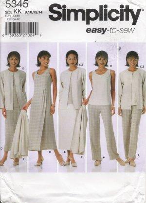 Misses' Pants Skirt Top Dress Jumper Jacket Sewing Pattern Size 8-14 Simplicity 5345 UNCUT