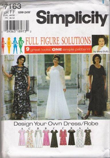 Women's Dress Sewing Pattern Size 18-24 Simplicity 7163 UNCUT