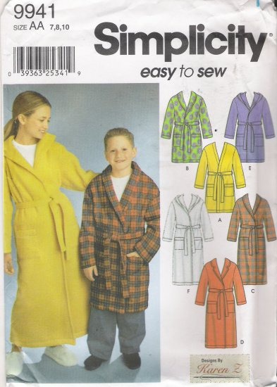 Girls' & Boys' Robe Sewing Pattern Size 7-10 Simplicity 9941 UNCUT