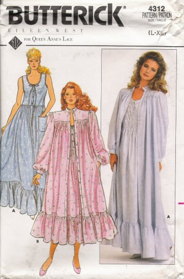 Misses' Robe & Nightgown Sewing Pattern Size L-XL Butterick 4312 UNCUT