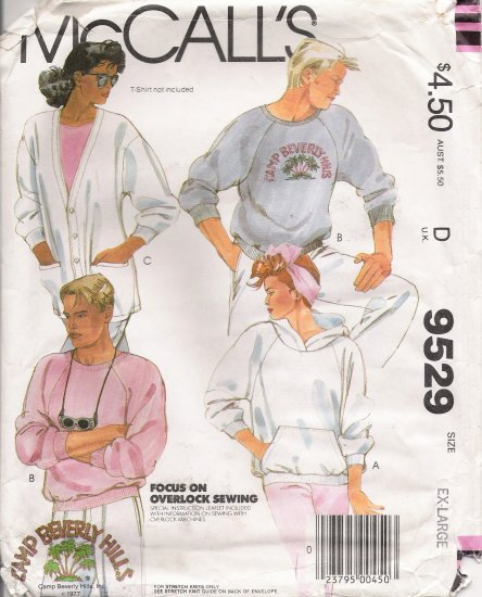 Misses' & Men's Tops Cardigan Sewing Pattern Size XL McCall's 9529 UNCUT