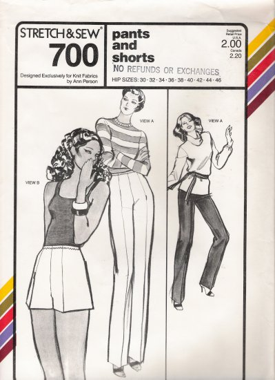 Vintage Sewing Pattern Pants & Shorts Hip Sizes 30-46 Stretch & Sew 700 UNCUT