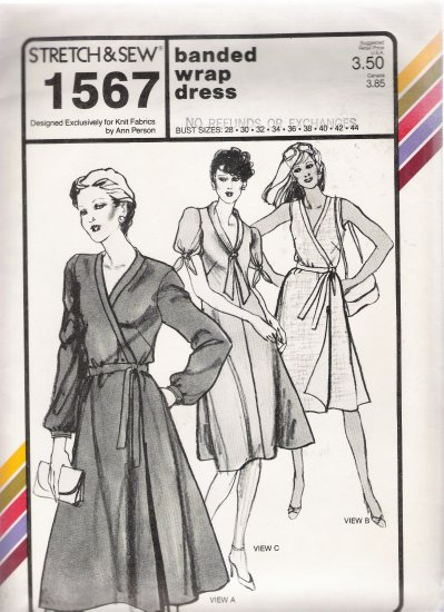Vintage Sewing Pattern Banded Wrap Dress Bust Sizes 28-44 Stretch & Sew 1567 UNCUT