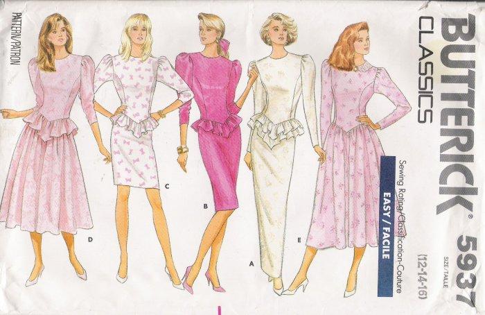 Misses' Dress Sewing Pattern Size 12-16 Butterick 5937 UNCUT