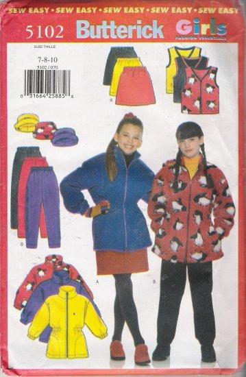 Girls' Jacket Vest Skirt Pants Hat Sewing Pattern Size 7-10 Butterick 5102 UNCUT