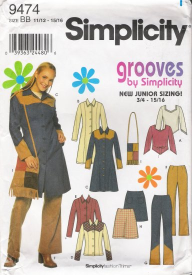Juniors' Coat Jacket Pants Skirt Bag Top Sewing Pattern Size 11/12-15/16 Simplicity 9474 UNCUT