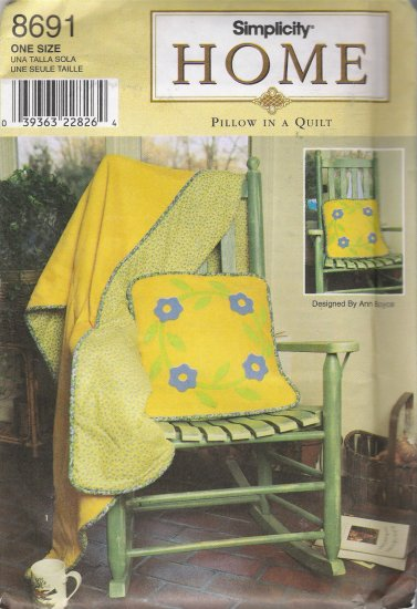 Pillow In A Quilt Sewing Pattern Simplicity 8691 UNCUT