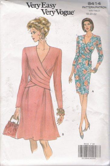 Misses' Dress Sewing Pattern Size 18-22 Vogue 8414 UNCUT