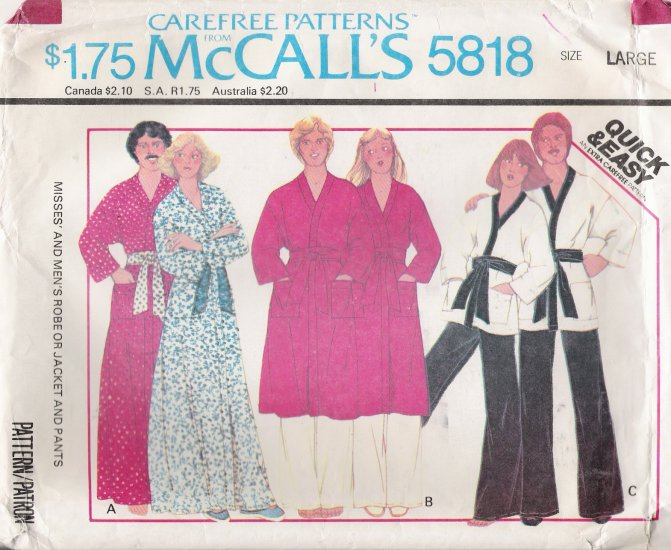 Vintage Sewing Pattern Misses' & Men's Robe Jacket Pants Size 40-42 McCall's 5818 UNCUT