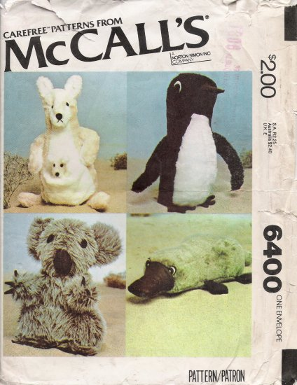 Vintage Sewing Pattern Set Of Stuffed Animals McCall's 6400 UNCUT