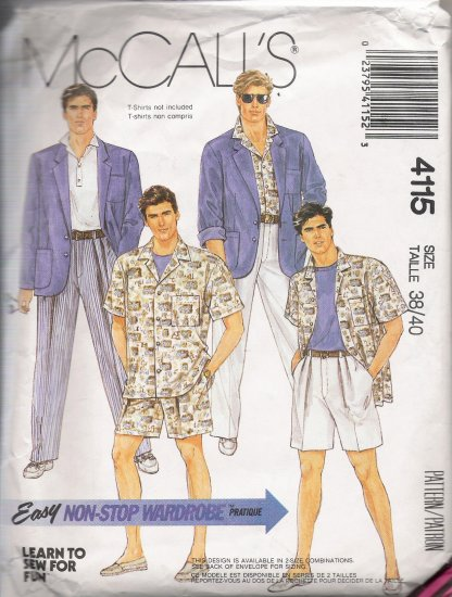 Men's Jacket Shirt Pants Shorts Sewing Pattern Size 38-40 McCall's 4115 UNCUT