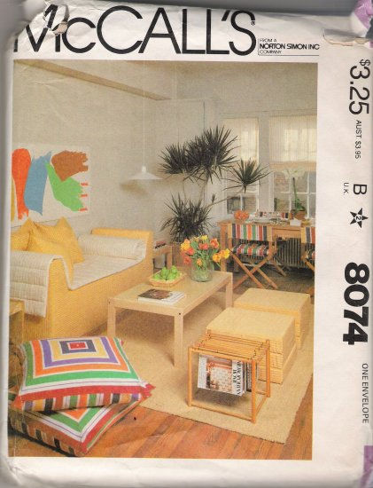 Vintage Sewing Pattern First Apartment Retro Furniture McCall's 8074 UNCUT