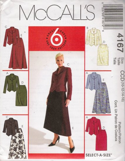 Misses' Jackets & Skirts Sewing Pattern Size 10-16 McCall's 4167 UNCUT