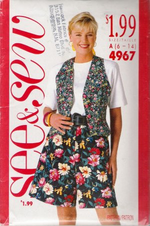 Misses' Vest Top Shorts Sewing Pattern Size 6-14 Butterick See & Sew 4967 UNCUT