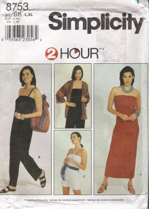 Misses' Jacket Bag Dress Jumpsuit Sewing Pattern Size L-XL Simplicity 8753 UNCUT