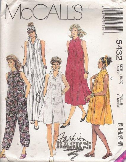 Misses' Dress & Jumpsuit Sewing Pattern Size 18-20 McCall's 5432 UNCUT