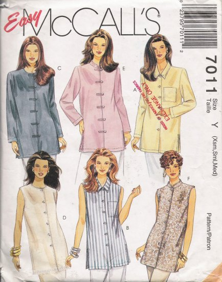 Misses' Tunics Sewing Pattern Size XS-M McCall's 7011 UNCUT