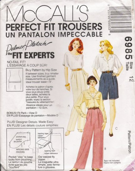 Misses' Pants, Shorts & Fitting Shell Sewing Pattern Size 12 McCall's 6985 UNCUT