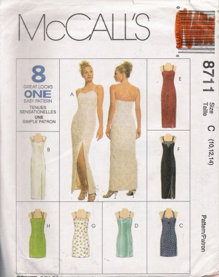 Misses' Dress Sewing Pattern Size 10-14 McCall's 8711 UNCUT