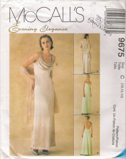 Misses' Gown & Stole Sewing Pattern Size 10-14 McCall's 9675 UNCUT