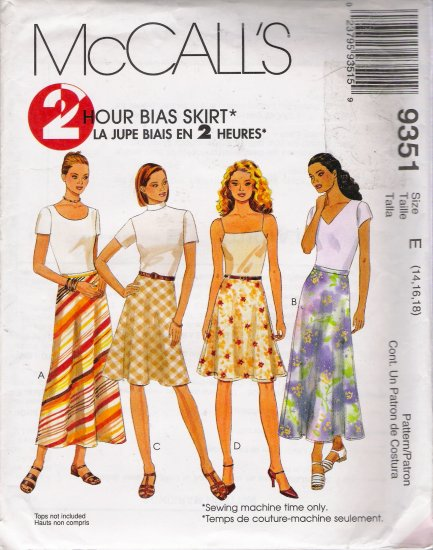 Misses' Bias Skirts Sewing Pattern Size 14-18 McCall's 9351 UNCUT