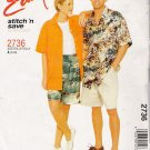 Misses', Men's & Teen Boys Shirt Shorts Sewing Pattern Size S-M McCall's 2736 UNCUT